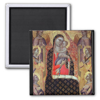 Madonna and child enthroned with six angels (panel 2 inch square magnet