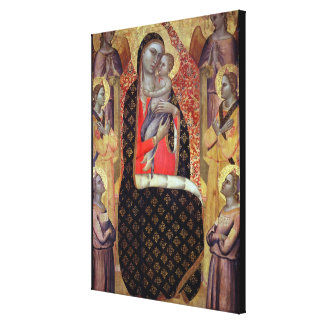 Madonna and child enthroned with six angels (panel canvas print
