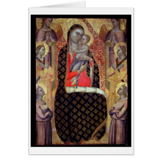 Madonna and child enthroned with six angels (panel card