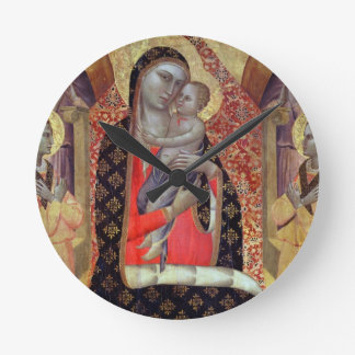 Madonna and child enthroned with six angels (panel round clock