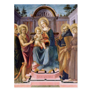 Madonna and Child Enthroned with  SS Postcard