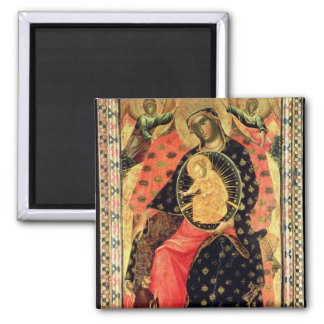 Madonna and Child Enthroned with Two Devout People 2 Inch Square Magnet