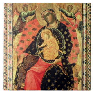Madonna and Child Enthroned with Two Devout People Ceramic Tile