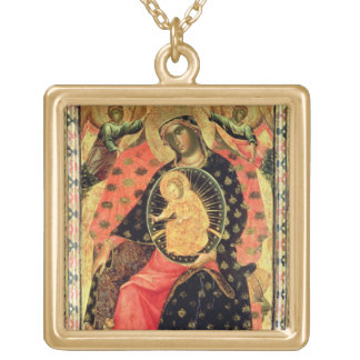 Madonna and Child Enthroned with Two Devout People Gold Plated Necklace