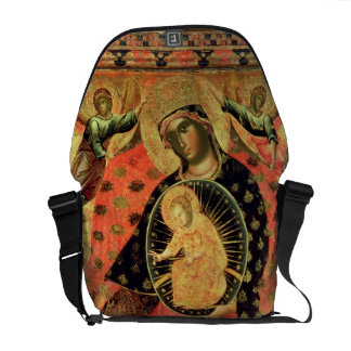 Madonna and Child Enthroned with Two Devout People Messenger Bag