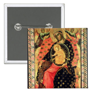 Madonna and Child Enthroned with Two Devout People Pinback Button