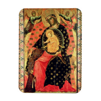 Madonna and Child Enthroned with Two Devout People Rectangular Photo Magnet