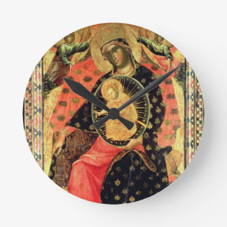 Madonna and Child Enthroned with Two Devout People Round Wall Clock