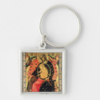 Madonna and Child Enthroned with Two Devout People Silver-Colored Square Keychain