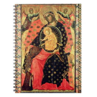 Madonna and Child Enthroned with Two Devout People Spiral Notebook