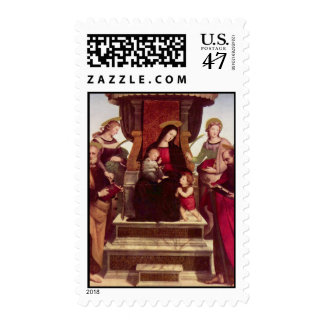 Madonna and Child Entroned with Saints by Raphael Postage
