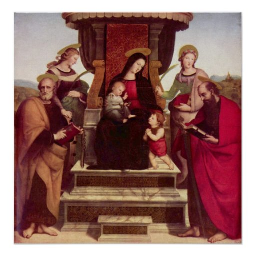 Madonna and Child Entroned with Saints by Raphael Poster