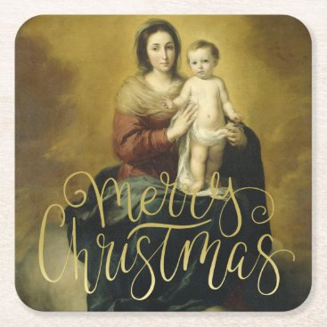 Beach Themed Madonna and Child, Fine Art Christmas Square Paper Coaster
