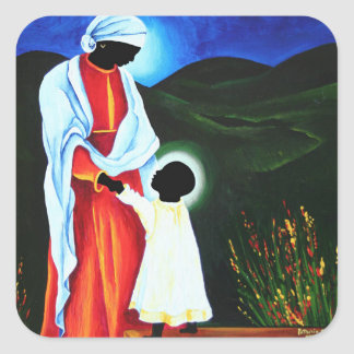 Madonna and child - First steps 2008 Square Sticker