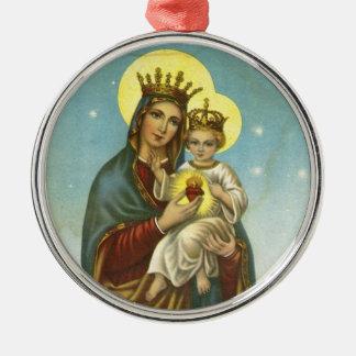 Madonna and Child from 19th Century Ephemera, Spai Metal Ornament