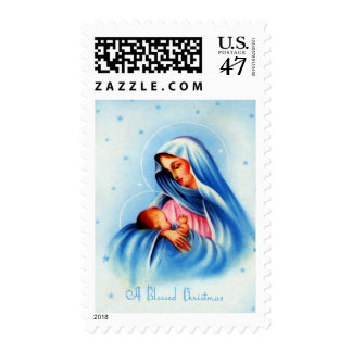 Madonna and Child in Blue and White Postage