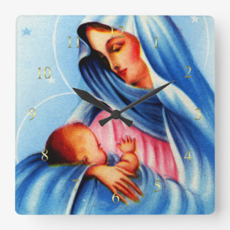 Madonna and Child in Blue and White Square Wall Clock