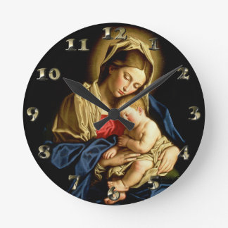 Madonna and Child Jesus - Sassoferrato Round Clock