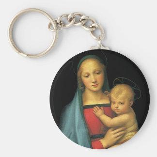 Madonna And Child, Madonna del Granduca by Raphael Keychain