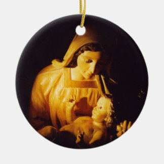 Madonna and Child: Madrid Double-Sided Ceramic Round Christmas Ornament
