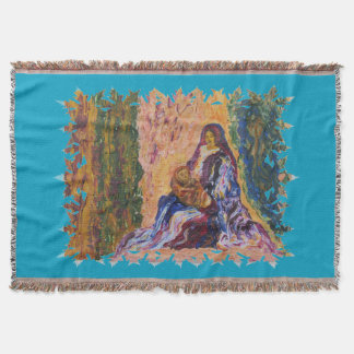 Madonna and Child Mary and Jesus impressionist art Throw Blanket