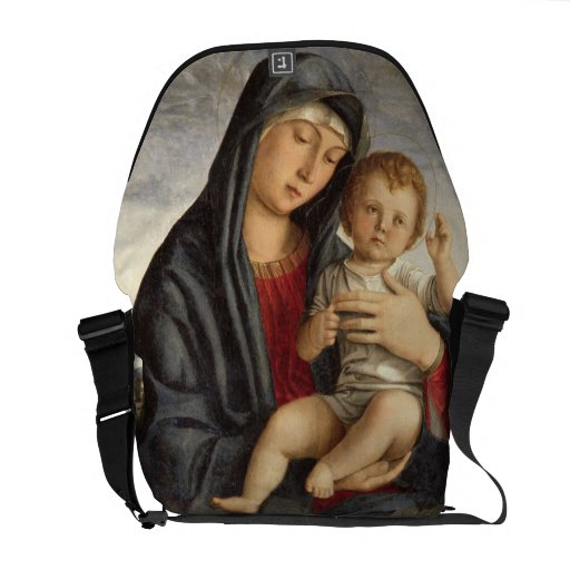 Madonna and Child (oil on panel) 2 Courier Bag