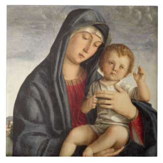 Madonna and Child (oil on panel) 2 Ceramic Tiles