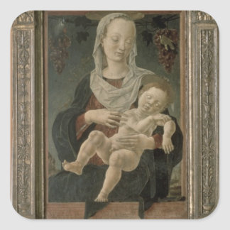 Madonna and Child (oil on panel) Square Sticker
