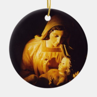 Madonna and Child Ornament, Spain Double-Sided Ceramic Round Christmas Ornament