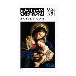 Madonna and child postage stamp