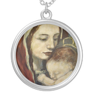 Madonna and Child Round Pendant Necklace