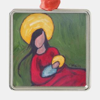 Madonna and Child Square Metal Christmas Ornament