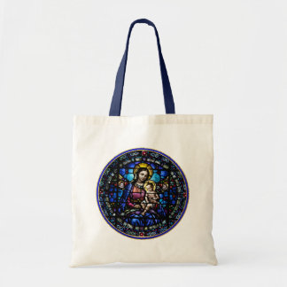 Madonna and Child Stained Glass Look Tote Bag