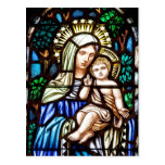 Madonna and Child - stained glass window Post Cards