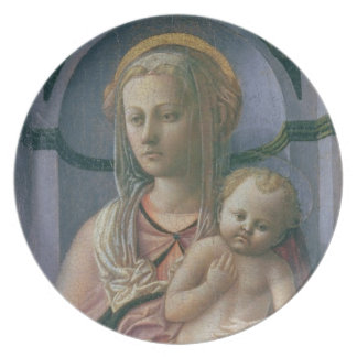 Madonna and Child (tempera on panel) Dinner Plate