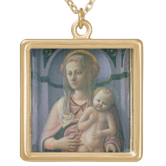 Madonna and Child (tempera on panel) Gold Plated Necklace
