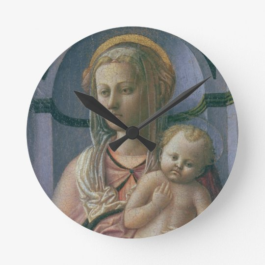 Madonna and Child (tempera on panel) Round Clock