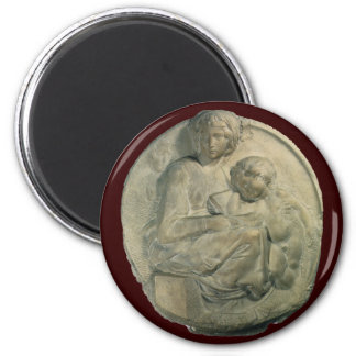 Madonna and Child, Tondo Pitti by Michelangelo 2 Inch Round Magnet