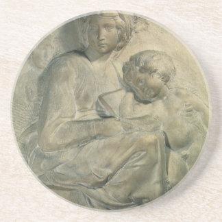 Madonna and Child, Tondo Pitti by Michelangelo Sandstone Coaster