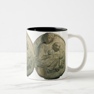 Madonna and Child, Tondo Pitti by Michelangelo Two-Tone Coffee Mug