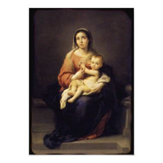"Madonna and Child - Virgin Mary - Murillo 5"" X 7"" Invitation Card"