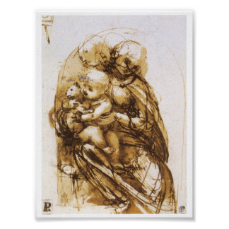 Madonna and Child with a Cat, Leonardo da Vinci Poster