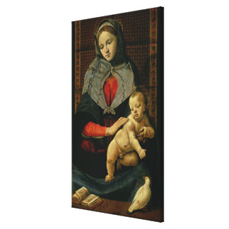 Madonna and Child with a Dove (oil on canvas) Canvas Print