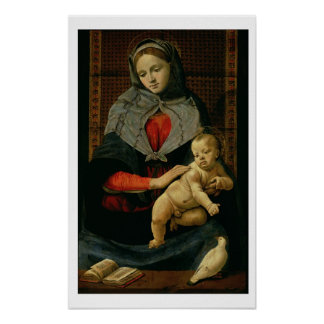 Madonna and Child with a Dove (oil on canvas) Poster
