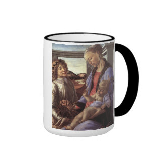 'Madonna and Child with an Angel' Ringer Coffee Mug