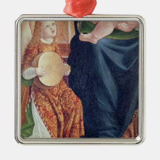 Madonna and Child with Angel Musicians Square Metal Christmas Ornament