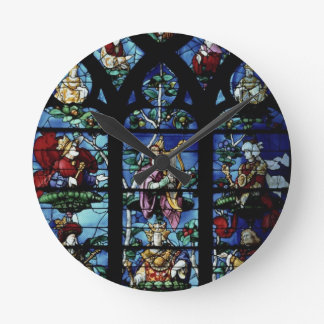 Madonna and Child with angels and portraits reflec Round Clock