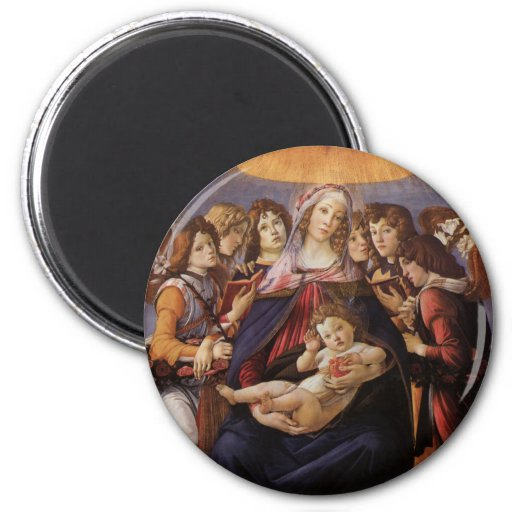 Madonna and Child with Angels by Sandro Botticelli 2 Inch Round Magnet