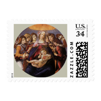 Madonna and Child with Angels by Sandro Botticelli Stamp