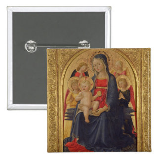 Madonna and Child with Angels, c.1467 (oil on pane 2 Inch Square Button